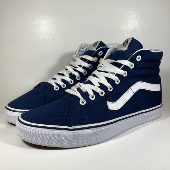 Vans Sk8-HI Navy Blue White Black Men's Size 11
